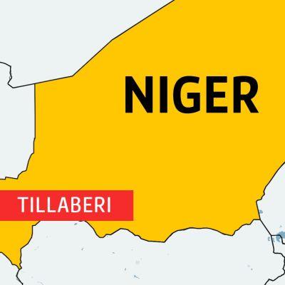 Karta över Niger med området Tillaberi inprickat.