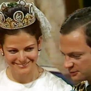 Kuningas Kaarle XVI Kustaa ja kuningatar Silvia häissään.