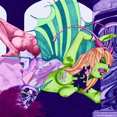 Kuvassa seksikäs kissanainen hajoaa kappaleiksi ja eksoottiset eläinhahmot katsovat vieressä. Piirretty kuva on luonteeltaan surrealistinen ja futuristinen.