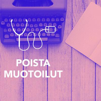 Digitreenien pääkuva. Tekstit: Poista muotoilut, Digitreenit, yle.fi/oppiminen. Tausakuvassa vanha kirjoutuskone, paperivihkoja.