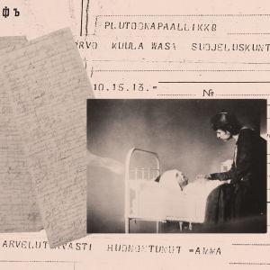 Alma Kuula miehensä Toivo Kuulan sairasvuoteen äärellä Viipurin lääninsairaalassa 1918.