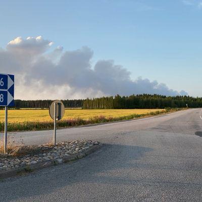 Kalajoen maastopalosta lähtevää savua kuvattuna keskiviikkoiltana 28.7.