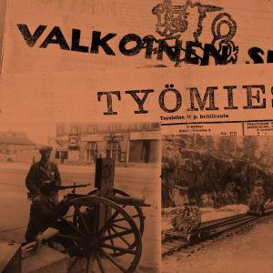 Saksalaiset lähestyvät Pasilaa rautateitä pitkin. Punaisten tykki Siltasaaressa.