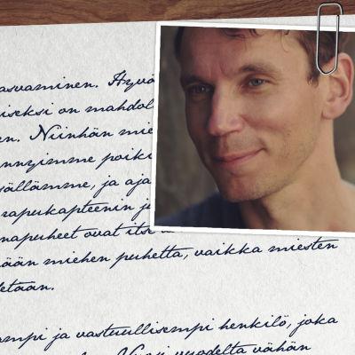 Käsin kirjoitettu kirje, johon on liitetty laitaan Juha Itkosen kuva.