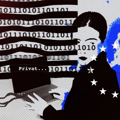 Illustrationsbild på dataöverföring från EU till USA.