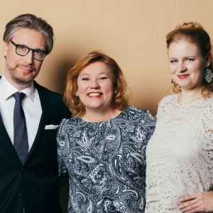 Lappeenrannan valtakunnallisten laulukilpailujen 2019 Ylen toimittajat Riikka Holopainen, Janne Palkisto, asiantuntija Päivi Kantola ja toimittaja Lotta Emanuelsson.