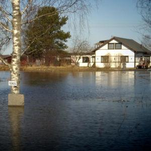 Vattenmassor från Kyro älv omringar ett egnahemshus i Merikart, Vasa.