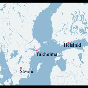 Kartta osoittaa Sävsjön sijainnin