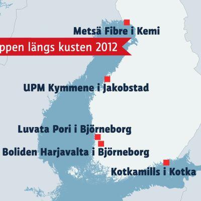 Karta med största arsenikutsläppen längst  med kusten 2012
