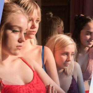 Kuvassa Ellen (Yasmin Najjar,) Sissi (Elsa Marjanen), Nana (Alisa Röyttä), Eveliina (Anna Kare) ja Einari (Elias Salonen)