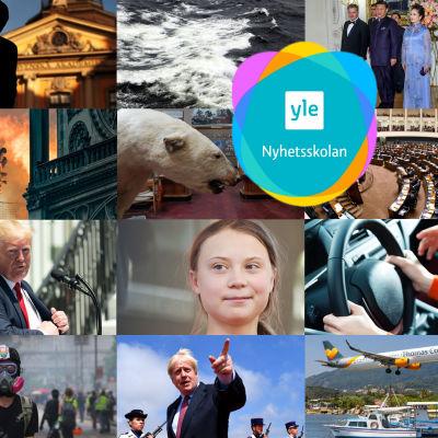 Ett kollage med bilder från årets nyhetshändelser.