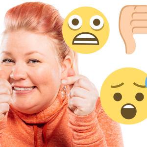 Jenny Lehtinen peukuttaa hymiöiden puristuksissa