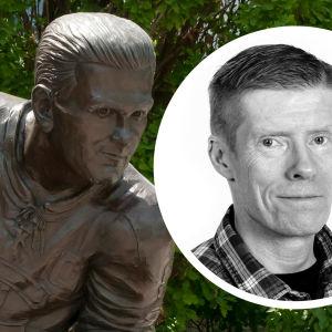 Staty på Maurice Richard till höger, bild på Anders Nordenswan till vänster.