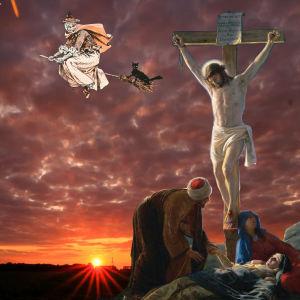 Jesus, häxa, ägg, hare, kycklingar.