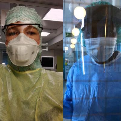 Tre sjukskötare i skyddsutrustning.