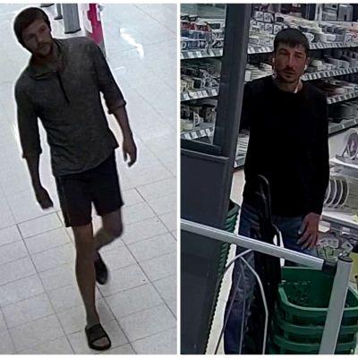Bild från övervakningskamera på tre män i en butik.