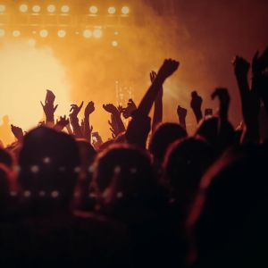 Händer uppe i luften på en konsert.