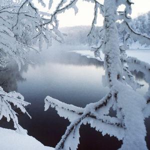 Ensilumi. Lumisia puita, osittain sulana oleva joki. Talvi.