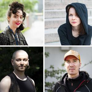 Runoilijat ylärivi: Tarita Ikonen, Elsa Tölli, Virpi Vairinen; alarivi: Kaarina Valoaalto, Susinukke Kosola ja Tuomas Timonen
