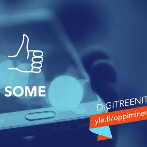 Teksti: Some, Digitreenit, yle.fi/oppiminen. Taustakuvassa kännykkä.