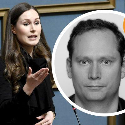 Kommentatorns bild mot bakgrund av en Sanna Marin som talar i riksdagen, omgiven av tre ministrar.