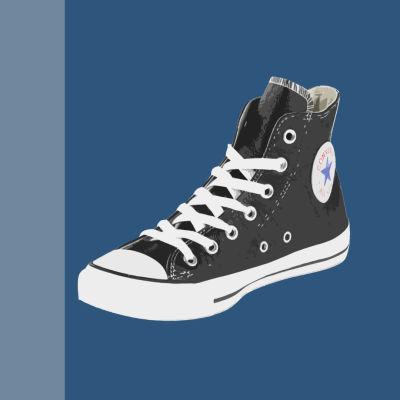 Converse-tossut ja surullinen tossujen käyttäjä, grafiikka.