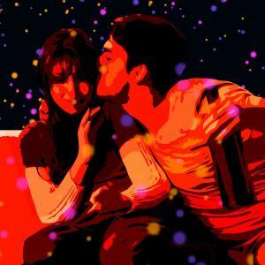En illustration om en man som kysser en kvinna, medan han håller en vinflaska i handen.