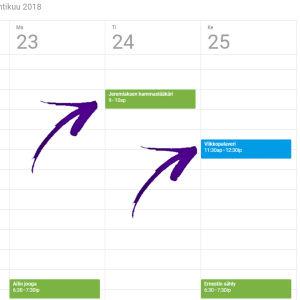 Tapahtumat näkyvät kalenterissa