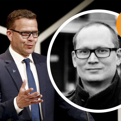 Petteri Orpo, en man i kostym och glasögon. Infälld i en cirkel, en man med glasögon.