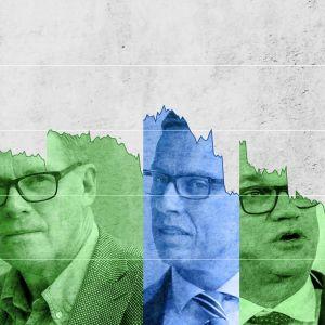 Bilder på Paavo Lipponen, Matti Vanhanen, Alexander Stubb och Antti Rinne infällda i en graf över deras regeringars understöd.
