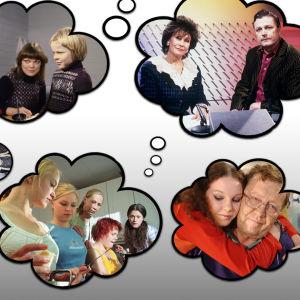 Ajatuskuplien sisällä on kuvia toivotuista draamaohjelmista.