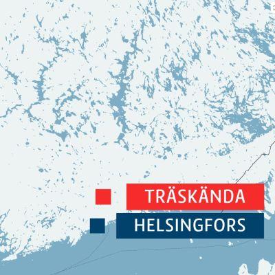 Karta över södra Finland med Helsingfors och Träskända kommun markerade.