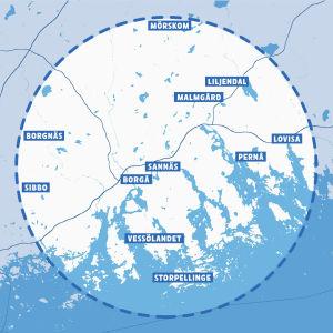 Karta över området för Närmat Östra Nyland