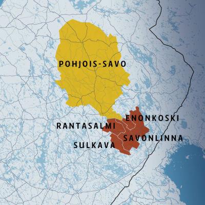 Pohjois-Savo ja osa Itä-Savon kunnista kartalla.