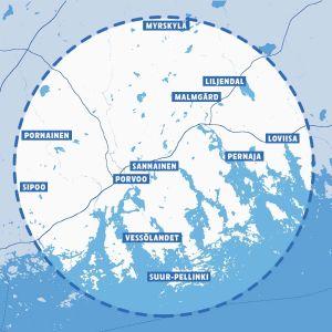 Lähiruoka-hankkeen kartta
