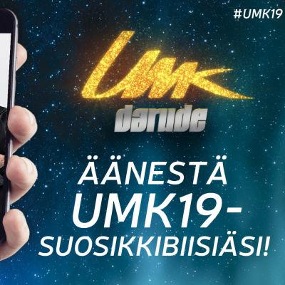 Kännykän ruutu missä näkymä Darudeen ja Sebastian Rejmaniin, kannuste äänestämään suosikkibiisiäsi UMK19:ssä