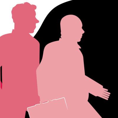 Kuvituskuva, jossa näkyy kolme hahmoa kävelemässä salkku kädessä.
