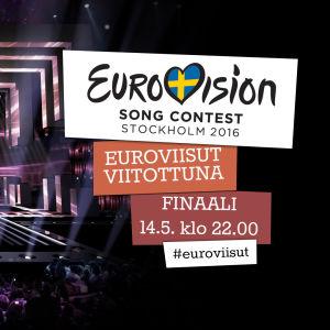 Kuva jossa kerrotaan että eurovision laulukilpailun finaali näytetään kansainvälisesti viitottuna Ylen verkossa la 14.5. klo22