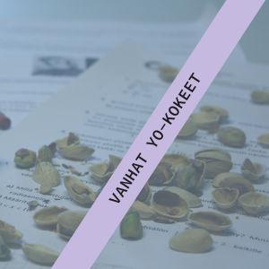 Kuvituskuva, jossa koepapereiden päällä laskin ja pähkinän kuoria.