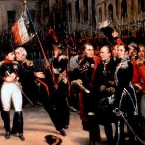 Napoleon jättää jäähyväiset Kaartilleen Fontainebleaun linnan hovissa