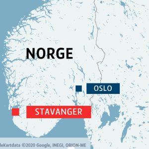 Karta över Norge och en referenskarta med norra Europa