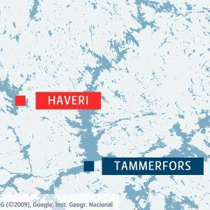 Karta över Tammerforsregionen och referenskarta som visar hela Finland.