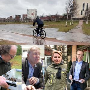 Collage, i övre bilden en person som cyklar på en översvämmad väg. På nedre bilden porträtt på sju olika personer.