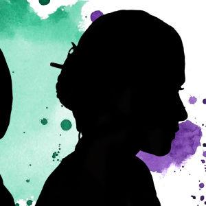 En illustrerad bild med färgstänk i bakgrunden i grönt och lila med två personer i profil som är svarta siluetter.