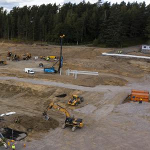 Hämeenlinnan uuden keskussairaalan rakennustyömaa.