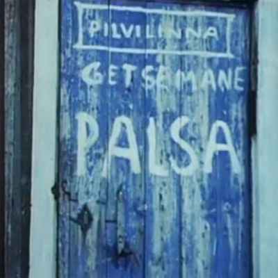 Kalervo Palsan Getsemane-ateljeen ovi Kittilässä.