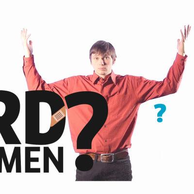 """Texten """"Vad är vårdreformen?"""" och redaktören Johan Gullemts med armarna i luften."""