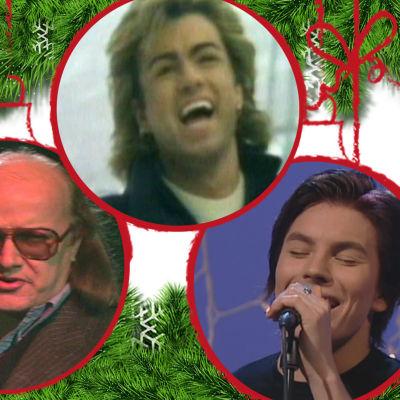 Kuvituskuva joululaulun laulajista, taustalla kuusenoksia, etualalla joulupalloja, joissa artistien kuvia.