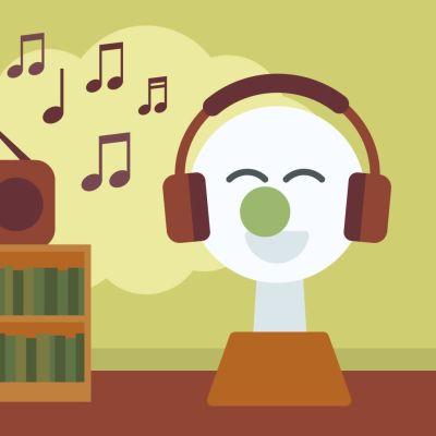 BUU-stämpeln med hörlurar på huvudet lyssnar glatt till musik med