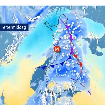 Karta över Finland med vädersymboler för snöfall och regn.
